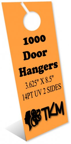 1000 Door Hangers 14PT Double Sided UV Coated Full Color Custom