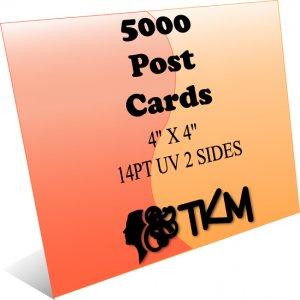 5000 4x4 Post Cards 14PT Double Sided UV Coated Custom