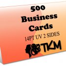500 Business Cards 14PT Double Sided UV Coated Custom
