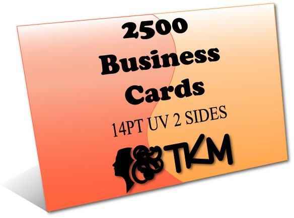 2500 Business Cards 14PT Double Sided UV Coated Custom