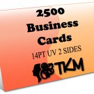 2500 Business Cards 14PT Double Sided UV Coated Custom