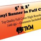 Custom 5'x2' Top Quality Full Color High Resolution Vinyl Banner