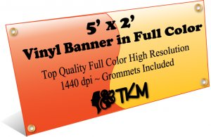 Custom 5'x2' Top Quality Full Color High Resolution Vinyl Banner