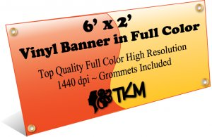 Custom 2'x6' Top Quality Full Color High Resolution Vinyl Banner