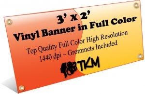 Custom 3'x2' Top Quality Full Color High Resolution Vinyl Banner