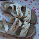 Earth Gelron White Leather Sandal Shoes Size 10 10.5 Womens
