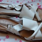 Italian White Flat Romano Sandals Made n Brazil. Thick Leather size 10 N Womens Shoes