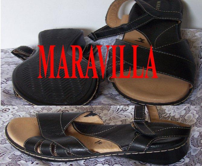 Maravilla Sz 11 W Brenna Black Leather Comfortable Womens Buckle Sandals New