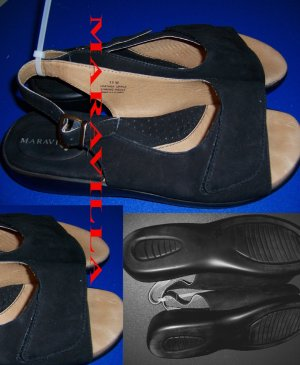 Maravilla Size 11 W Leather Black Suede Sandals Womens Shoes