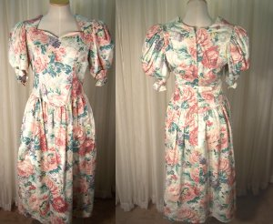 Vintage 80s Dynasty Dress Womens Size 10 Blair Heirloom Maxi Swing Puff Sleeves