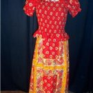 Vintage 70s Hippie Flower Pow Smocked Red Maxi Sun Dress Misses Size 11/13