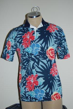 Mens Blue Giant Flowered Hawaiian by Reed St James Shirt Top Size Medium M