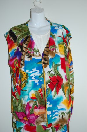 Hawaiian Floral Exotic with Parrots by Carol Little Skirt Top Womens Size 20 22 XXL