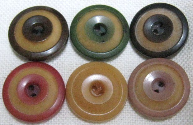 6 Vintage Stained Vegetable Ivory Whistle Button set