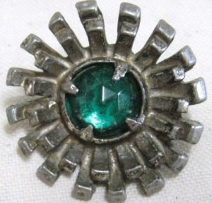 Big Gay Nineties Blue Rhinestone Vintage Sewing Button