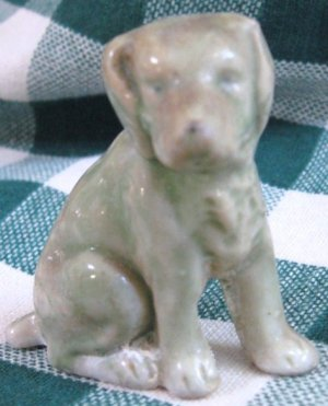 """Vintage Green Pottery Dog """"JAPAN"""""""
