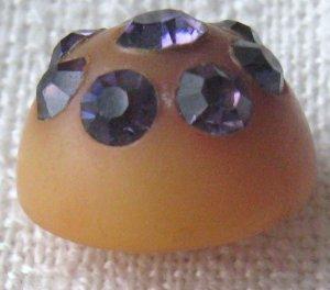 Vintage Purple Rhinestones Celluloid Plastic Button.