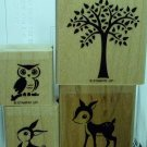 Set of 4 Wood mounted stamps with storage case. RETIRED