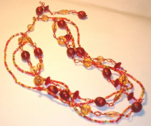 Summer beads necklace - Red