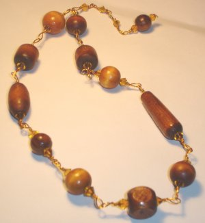 Wood beads necklace - Rust