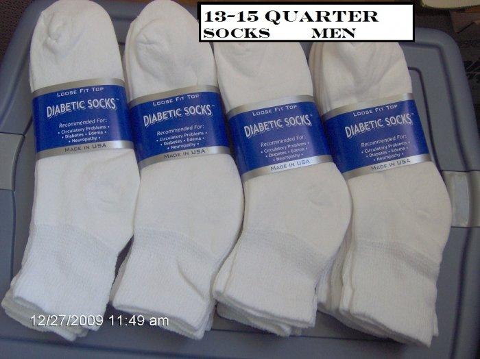 MEN Size 13-15 Diabetic Socks Color White, 18 pairs, Quarter Length, Golf Style