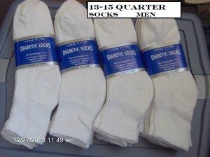 Diabetic Socks MEN Sock Size 13-15 Color White,  6 PAIRS, Quarter Length, Golf Style