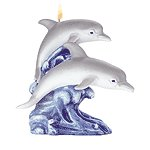 Duo Of Diving Dolphins Candle