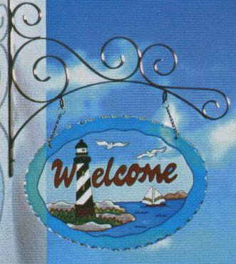 Glass Lighthouse Welcome Sign