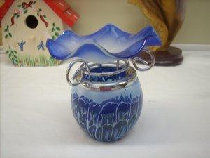 Blue Swirl Tea Light Oil Warmer