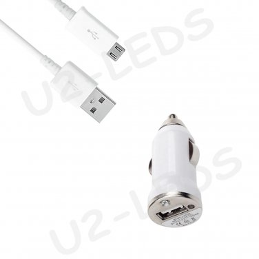 USB Car Charger + Micro-USB Data Sync Cable for Samsung Note 2 Galaxy S4 S3 S2