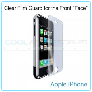 "Clear Protective Film Guard for the Front ""Face"" of the Apple iPhone with a Mini Cleaning Cloth"