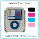Hot Pink-Magenta Leather Pouch Case for the Apple iPod Nano (3rd Generation)