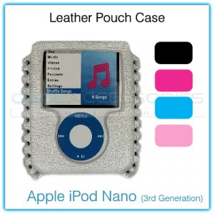 Black Leather Pouch Case for the Apple iPod Nano (3rd Generation)