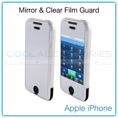 "Dual-Finish Mirrored & Clear Film Guard for the Front ""Face"" of the Apple iPhone"
