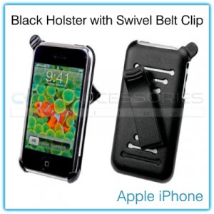 Black Holster with 180-Degrees Swivel Belt Clip for the Apple iPhone