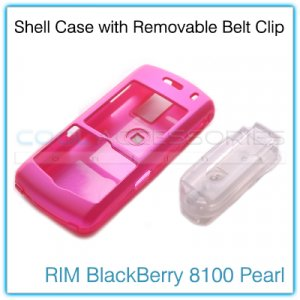 Magenta Shell Shield Case with Detachable Belt Clip for the RIM BlackBerry 8100 Pearl
