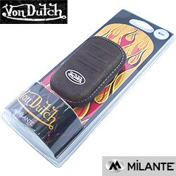 Von Dutch Brown Leather Mini Universal Carrying Pouch Case by Milante with Integrated Belt Clip
