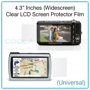 """4.3"""" Inches Widescreen Universal Clear LCD Screen Protector Film Guard for Digital Cameras, etc."""