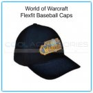 World of Warcraft Flexfit Large/XL Black Baseball Cap with Embroidered Gold & Blue Logo