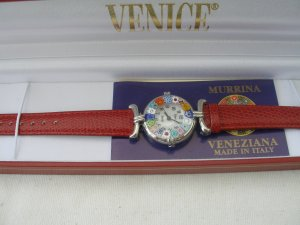 Red Millefiori Murano Glass Watch .925 silver accents Stunning
