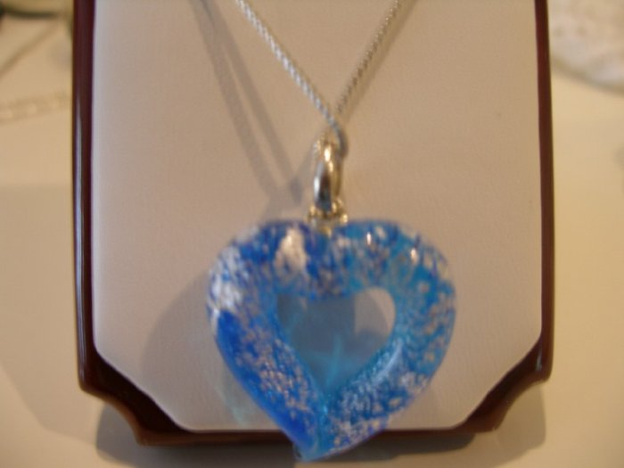 Italian Murano Heart Pendant with silver chain