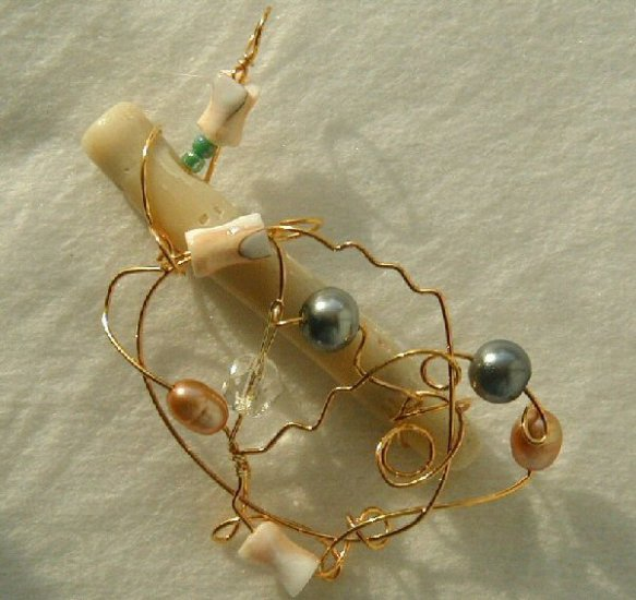Wire Sculpted coral pendant with pearls
