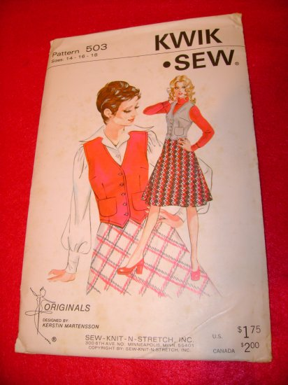 Vintage Women's KWIK SEW Knit-N-Stretch Skirt Vest Pattern Sz 14 16 18