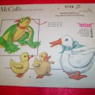 Vintage McCall's Printed Pattern Stuffed Toys Frog Duck Duckling 1957