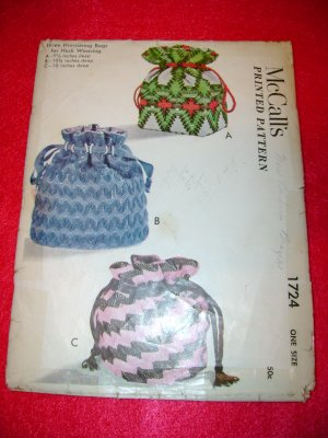 Vintage 1952 McCall's Three Drawstring Bags Printed Pattern