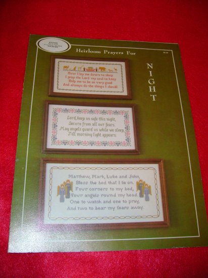 Heirloom Prayers for Night Cross Stitch Picture Pattern Religious