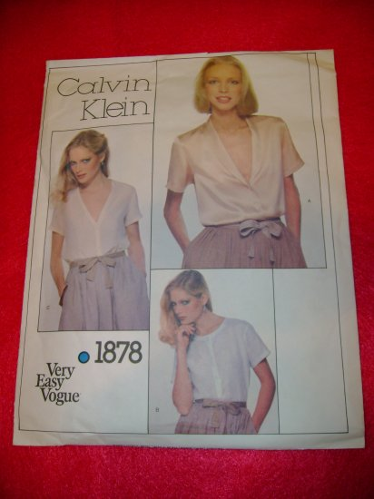 Calvin Klein Very Easy VOGUE Misses Blouse Pattern Size 16