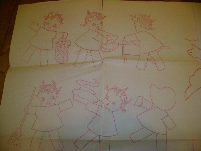 Vintage Black Americana Tea Towel Transfer Patterns & Angel Crib Quilt Transfer Sheet