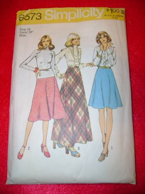 Simplicity Misses Bias Skirt in 3 Lengths Dress Pattern Size 16