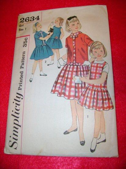 Vintage Simplicity Girls Jumper Dress Overblouse Pattern Size 7